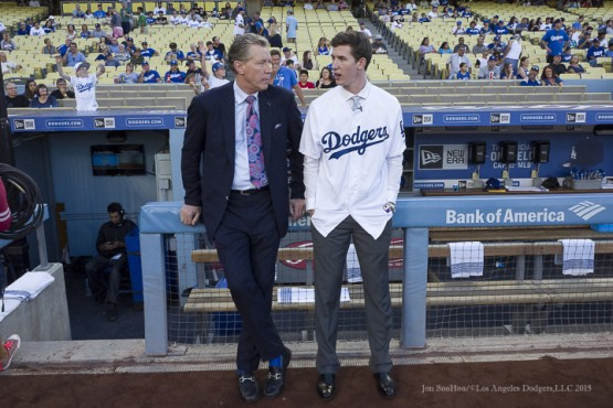 Not long after the Dodgers picked him in the first round of the June, 2015 draft, Walker Buehler visited Dodger Stadium that September and hang out with Orel Hershiser. Now, Buehler could be the dominant right hander in the team's rotation. (Photo by Jon SooHoo/©Dodgers,LLC 2015)