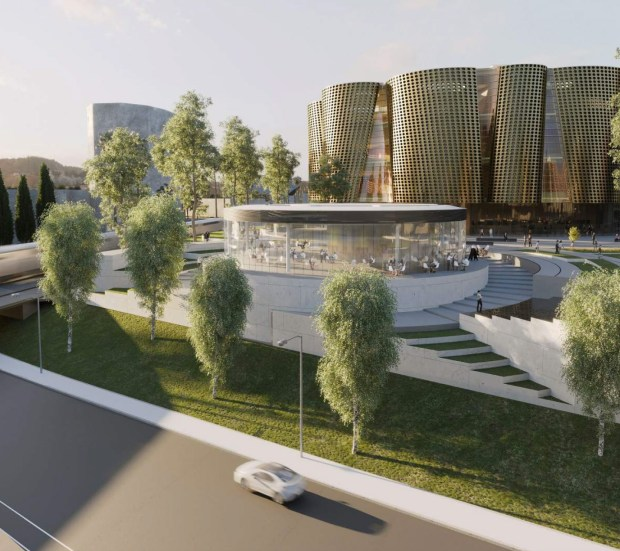 A rendering of the Anaheim Performing Art Center. (Image courtesy of Studio Pali Fekete Architects)