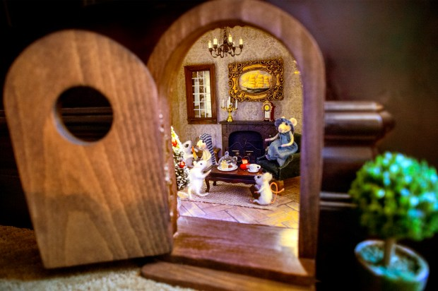 A mouse hole diorama of a 7,238-square-foot Covina home is featured, asking price is $5.6 million Dec. 11, 2017. The 4.32 acre horse property is located on E. Lorencita Drive. (Photo by Leo Jarzomb, SGV Tribune/ SCNG)