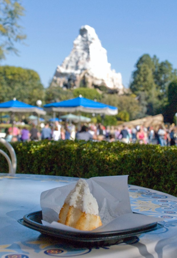 The Matterhorn Macaroon, an original baked item created for Disneyland's Jolly Holiday Bakery Cafe, is shown with its namesake attraction in the background. (File photo by Mark Eades, Orange County Register/SCNG)