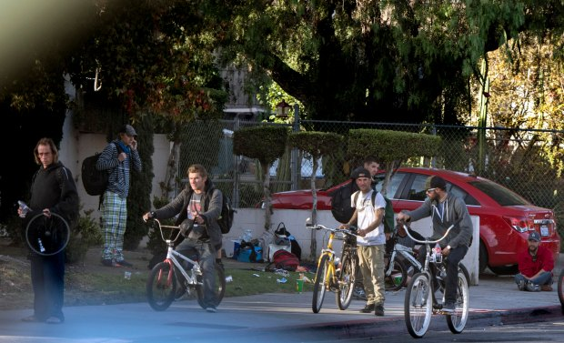 Corners such as this one off 19th Street in Costa Mesa can be a hangout for homeless youth, including rehab dropouts. (Photo by Mindy Schauer, Orange County Register/SCNG)