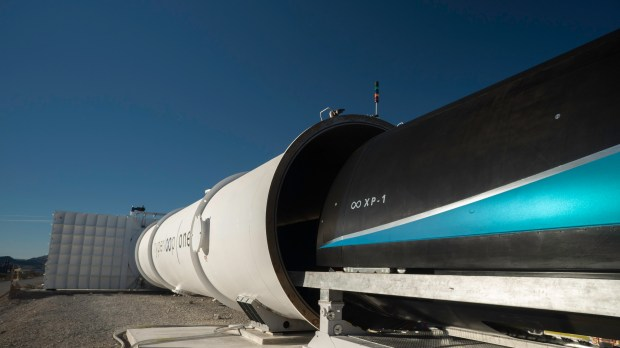 Los Angeles-based Virgin Hyperloop One completed the third phase of testing for the world's first working Hyperloop prototype, reaching 240 mph, the company announced Monday. (Photo courtesy Virgin Hyperloop One)