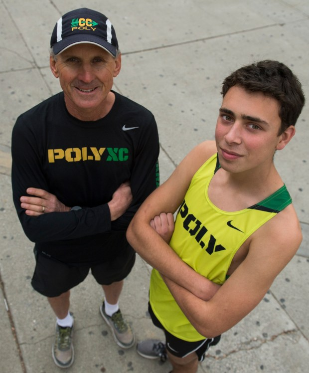 Will Frankenfeld, right and Coach Mike Fillipow, left is the cross-country runner of the year and cross-country coach of the year in Long Beach Wednesday, December 20, 2017.(Photo by Thomas R. Cordova Press-Telegram/SCNG)