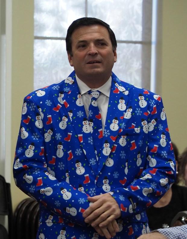 Brea Olinda Unified School District board member Paul Ruiz dresses for the season. (Courtesy of Polly Andrews)