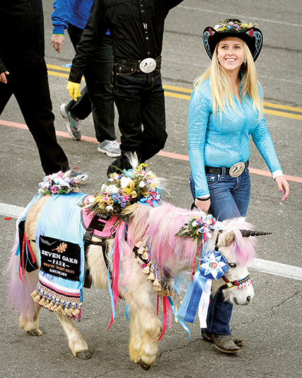 So Cal Mini Horse Sanctuary from Hemet, Calif. during the Rose Parade in Pasadena, Calif. on Monday, Jan. 2, 2017. (Photo by Leo Jarzomb, SGV Tribune/ SCNG) ORG XMIT: CAWES