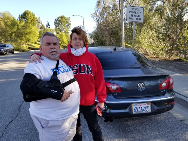Brad and Susan Slagle were among the residents of Santiago Estates who evacuated Tuesday due to the Creek Fire in Sylmar Photo by Scott Schwebke