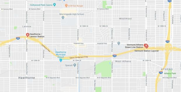 Metro Green Line trains are being delayed Monday, Dec. 18, 2017, between the Vermont and Hawthorne/Lennox stations due to damaged power lines. (Google Maps)