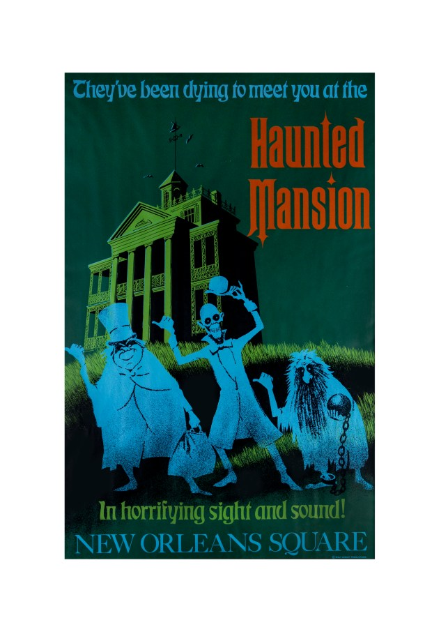 "(Disneyland, 1969) An original hand-silkscreened 54""x36"" attraction poster for Disneyland's ""Haunted Mansion"". This poster was designed by Imagineers Ken Chapman and Marc Davis, and features iconic imagery of the Hitchhiking Ghosts. This poster is one of the most sought-after early attraction posters due to the continued popularity of the attraction as well as its stunning imagery. Description and photo courtesy of the Van Eaton Galleries, Sherman Oaks, CA"