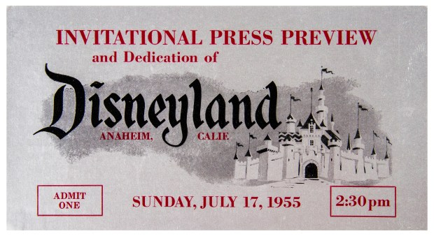 "(Disneyland, 1955) A very rare silver opening day press preview ticket. Because Disneyland's opening day events were being broadcast on Live TV, guests and VIPs were requested to arrive at different times to accommodate the televised ceremonies. This particular pass features an entrance time of 2:30pm, and includes information on the back about ABC's live broadcast of the events. The ticket measures 3.5""x6.5"" and is in very good condition with slight edge-wear. Description and photo courtesy of the Van Eaton Galleries, Sherman Oaks, CA"