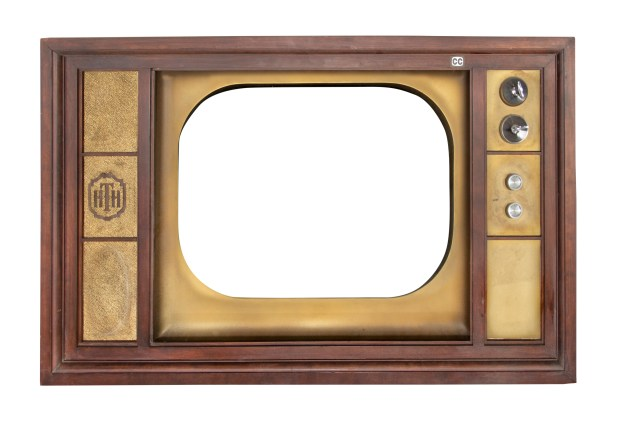"An extremely rare wooden television prop from ""The Twilight Zone Tower of Terror"" attraction at Disney California Adventure."
