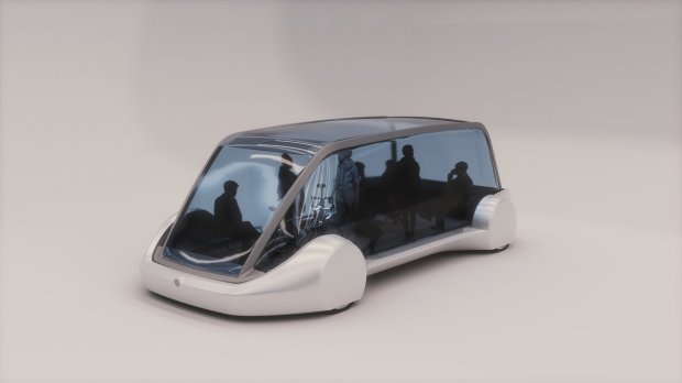 A rendering of the passenger pod that Boring Co. proposes to use in its high-speed mass-transit network.