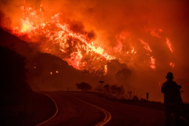 The Thomas fire burns through Los Padres National Forest near Ojai, Calif., on Friday, Dec. 8, 2017. (AP file photo/Noah Berger)