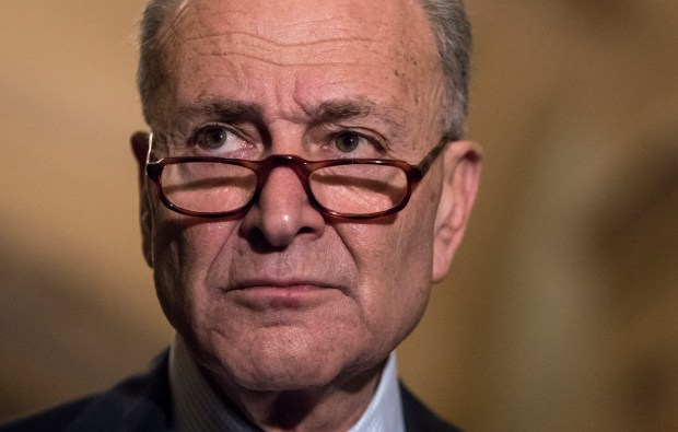 With the deadline looming to pass a spending bill to fund the government by week's end, Senate Minority Leader Chuck Schumer, D-N.Y., faces reporters following weekly strategy meetings on Capitol Hill in Washington, Tuesday, Dec. 5, 2017. (AP Photo/J. Scott Applewhite)