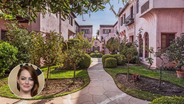 This pink Spanish Colonial Revival complex in Long Beach was featured in the film as the apartment building where actress Emma Stone's character Mia lived. (Composite by Marilyn Kalfus, Orange County Register/SCNG; Inset: File photo; House: Christopher Lauri Photography)