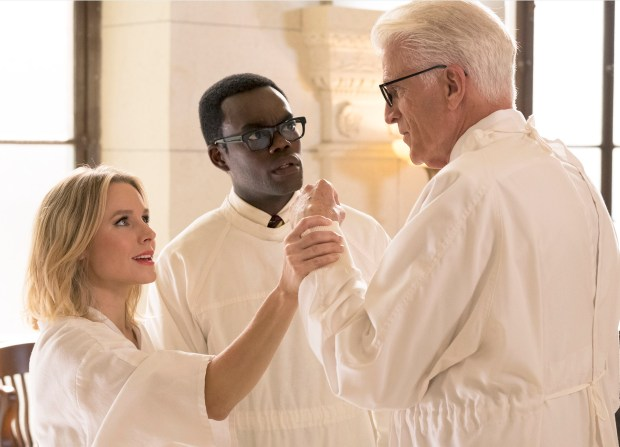"Kristen Bell, William Jackson Harper and Ted Danson in NBC's ""Good Place."""