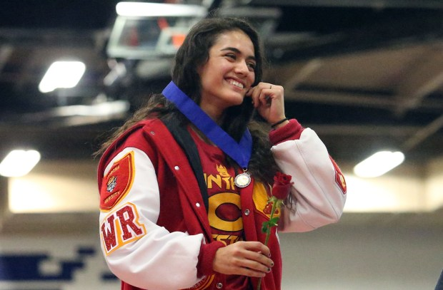 Corona's Sugey Ceja won the 106-pound title at the CIF Southern Section finals and went on to place second at the state finals.. (Photo by Mark Dustin for the Press Enterprise)