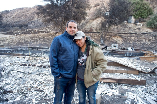 Cory Lagusker and his wife Jennifer lost their home on Gold Creek Road in Sylmar during the Creek fire. The couple run an animal sanctuary at the location and evacuated 500 animals safely during the fire. (Hans Gutknecht, Los Angeles Daily News/SCNG)