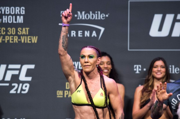Women's Featherweight champion Cris Cyborg during UFC 219 ceremonial weigh-ins at the T-Mobile Arena in Las Vegas, Nev., Friday, Dec. 29, 2017(Hans Gutknecht, Los Angeles Daily News/SCNG)