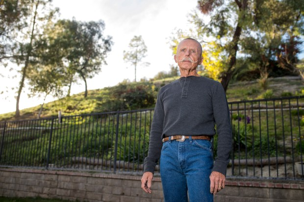 John Nelson in the backyard of his home in unincorporated Los Angeles County near Santa Clarita. (Photo by Hans Gutknecht, Los Angeles Daily News/SCNG)