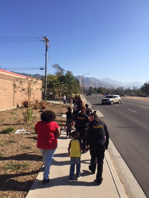 Probation officers escorted children to a safe area during Thursday's incident. Photo courtesy San Bernardino County Probation Department