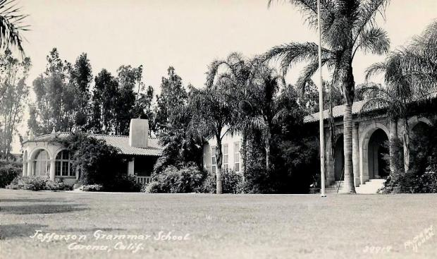 This vintage postcard shows Jefferson Grammar School, now Thomas Jefferson Elementary School, in about 1939. The Corona school, whose construction was completed in December 1927, was recently added to the National Register of Historic Places and is celebrating its 90th birthday Dec. 15. Photo courtesy of Mary Winn, Corona Historic Preservation Society