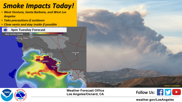 The National Weather Servi ce released this image showing where it predicts that smoke from Southern California's wildfires will travel Tuesday, Dec. 12, 2017.