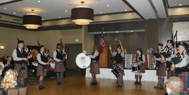 The Kevin R. Blandford Memorial Pipe Band performs at the Scottish Society of the Inland Empire's 2017 Robert Burns Dinner. (Courtesy Photo)