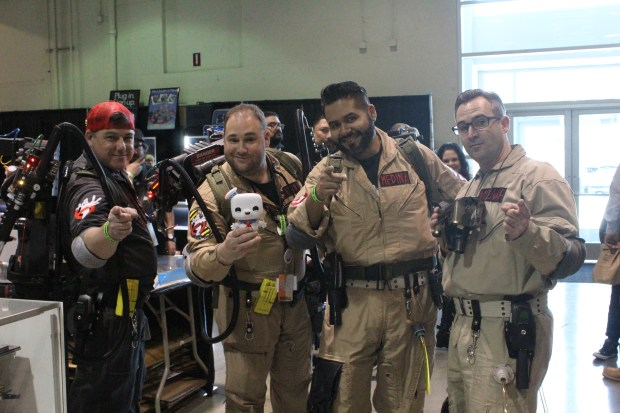 "(From left to right) Gary Horton, Charles Lewin, Miguel Medina and Justin Molnar came to the event dressed up as the ""Southland"" Ghostbusters. (Photo by Kenya Barrett/SCNG)"
