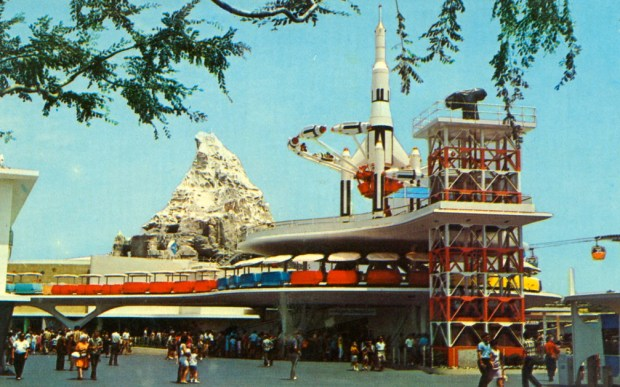 Disneyland's Tomorrowland in 1967 showcased new transportations, as well as futuristic thrill rides. On the top are the Tomorrowland Rocket Jets, which could be accessed via elevators inside the structure designed to look like a gantry for a rocket launch pad. (Photo courtesy of the Disneyland Resort)//// ADDITIONAL INFORMATION: Disneyland's Tomorrowland as it appeared in 1967-1969. - disneyland.tomorrowland.xxxx - - Photo by: COURTESY, THE DISNEYLAND RESORT