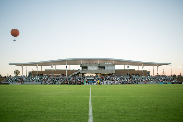 The championship soccer stadium at the Orange County Great Park in Irvine. (Photo by Albert Evangelista)