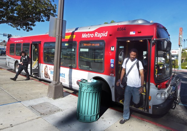 A Metro Rapid bus on Colorado Boulevard in Pasadena Tuesday, January 23, 2018. Los Angeles Metro plans on phasing out in the next year and half this antiquated way of riding buses and trains, using a metal token. (Photo by Walt Mancini/Pasadena Star-News/SCNG)