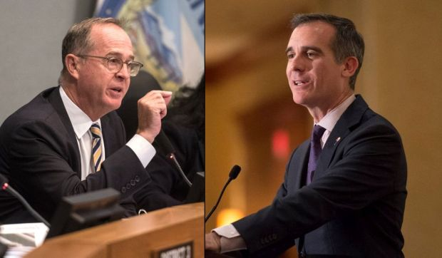 Anaheim Mayor Tom Tait, left, and LA Mayor Eric Garcetti are heading to Washington, D.C., for the three-day U.S. Conference of Mayors' 86th Annual Winter Meeting, where both will participate in a discussion on immigration. (SCNG photos by Kyusung Gong and Hans Gutknecht)