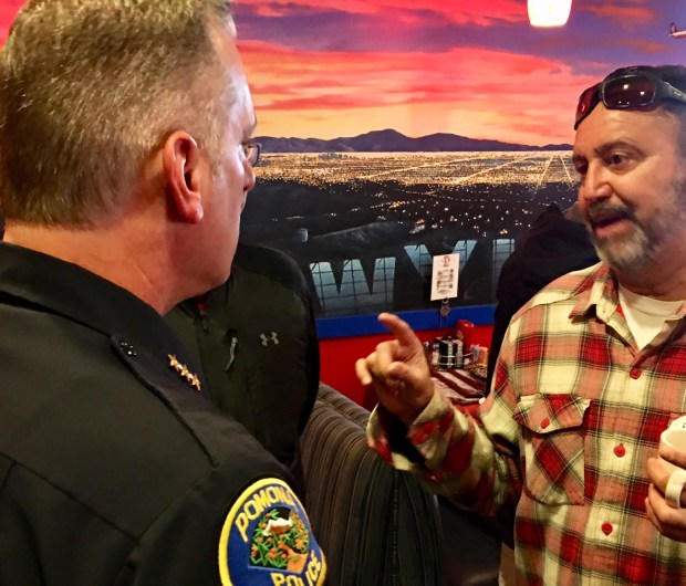 Pomona resident Bo Jimenez talks with Interim Pomona Police Chief Michael Olivieri Thursday, Jan. 25, 2018 during a Coffee with a Cop gathering held at Mr. D's Diner in Pomona. Photo by Monica Rodriguez/ Inland Valley Daily Bulletin