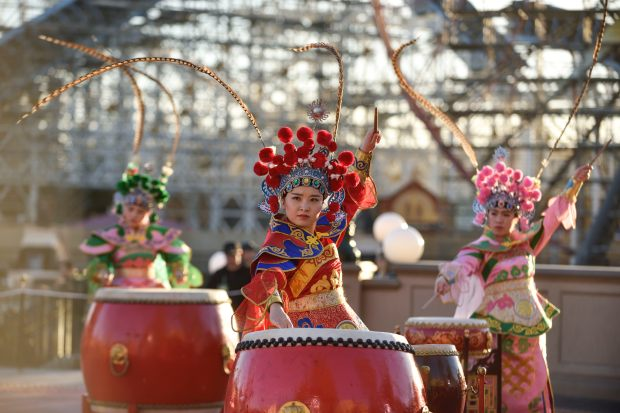 Members of the GuGu Drums from Shanghai perform on the first day of Disney's Lunar New Year celebration at California Adventure in Anaheim on Friday, Jan 26, 2018. (Photo by Jeff Gritchen, Orange County Register/SCNG)