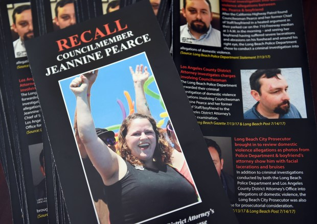 The effort to recall Long Beach Councilwoman Jeannie Pearce is heating up and these are the flyers laid out at the newly opened recall committee headquarters at 407 E. 3rd Street. Long Beach February 3, 2018. Photo by Brittany Murray, Press Telegram/SCNG