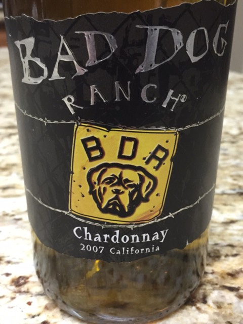 """Bad Dog Ranch: """"Welcome to Bad Dog Ranch Vineyards, home of Bad Dog himself and a line of California varietal wines expertly crafted and deliciously blended for easy-to-drink finishes and easy-to-take prices."""" Easier to take, we hope, than this label. (Photo courtesy Bad Dog Ranch)"""