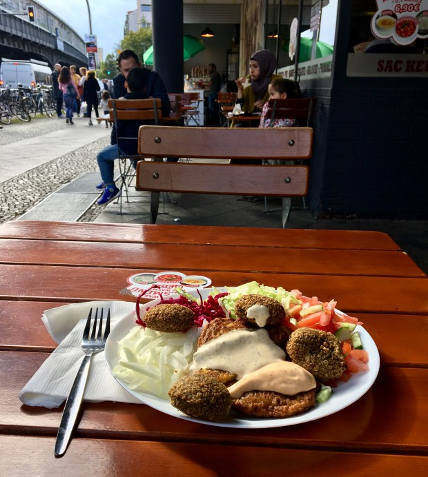 A plate of hummus and falafel for only a few Euros in the Turkish district of Kreuzberg, Berlin. Photo by Marla Jo Fisher, Sept. 2017