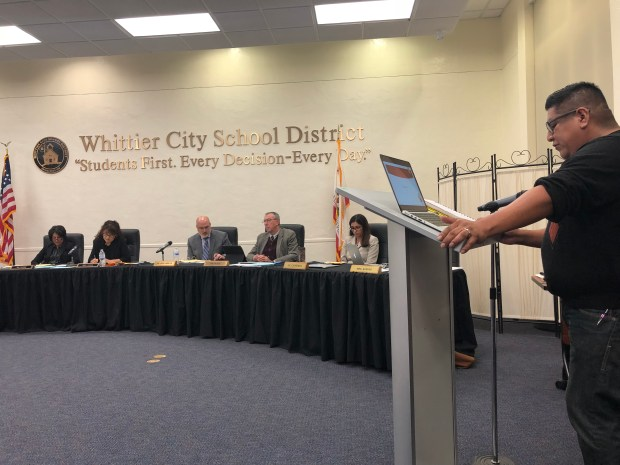 A member of the public addresses the Whittier City School District Board of Education at the Jan. 16, 2018 public hearing regarding the change in board elections. Photo is courtesy of WCSD.