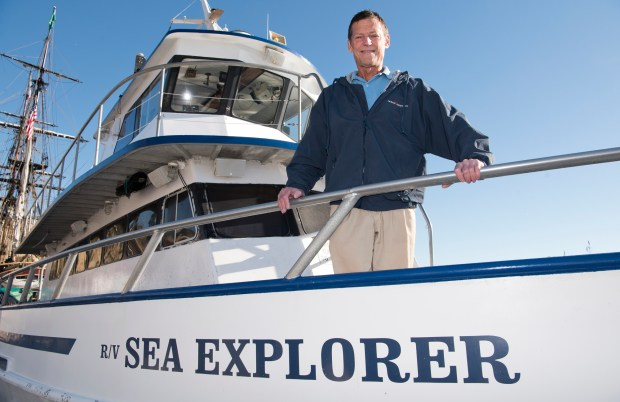 Mike Bursk, a Marine Biologist at the Ocean Institute, and Captain of the R/V Sea Explorer, stands on the bow of the boat in Dana Point Harbor on Tuesday, January 23, 2018. Bursk will give a talk about whales at an upcoming American Cetacean Society Meeting. (Photo By Jeff Antenore, Contributing Photographer)