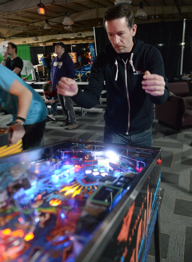 David Riel, a 42-year-old pinball player from Pittsburgh, competes Friday, Jan. 12, on the first day of qualifying at the It Never Drains in Southern California pinball tournament at the Museum of Pinball in Banning. Photo by John Valenzuela/The Press-Enterprise/SCNG