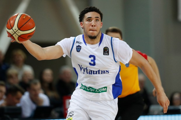 BC Prienu Vytautas's LiAngelo Ball in action during the Big Baller Brand Challenge friendly tournament match between BC Prienu Vytautas and BC Zalgiris-2 at the BC Prienai-Birstonas Vytautas arena, in Prienai, Lithuania, Tuesday, Jan. 9, 2018. LiAngelo Ball and LaMelo Ball, sons of former basketball player LaVar Ball, have signed a one-year contract and play their first match for Lithuanian professional basketball club Prienu Vytautas. (AP Photo/Liusjenas Kulbis)