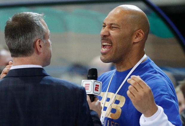 LaVar Ball reacts after watching his sons in the Big Baller Brand Challenge friendly tournament match between BC Prienu Vytautas and BC Zalgiris-2 at the BC Prienai-Birstonas Vytautas arena, in Prienai, Lithuania, Tuesday, Jan. 9, 2018. LiAngelo Ball and LaMelo Ball, sons of former basketball player LaVar Ball, have signed a one-year contract and play their first match for Lithuanian professional basketball club Prienu Vytautas. (AP Photo/Liusjenas Kulbis)