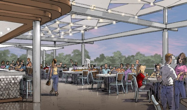 This artist's rendering shows the patio of the new Ballast Point brewery, tasting room and kitchen that will open this fall in Downtown Disney. (Courtesy Ballast Point)