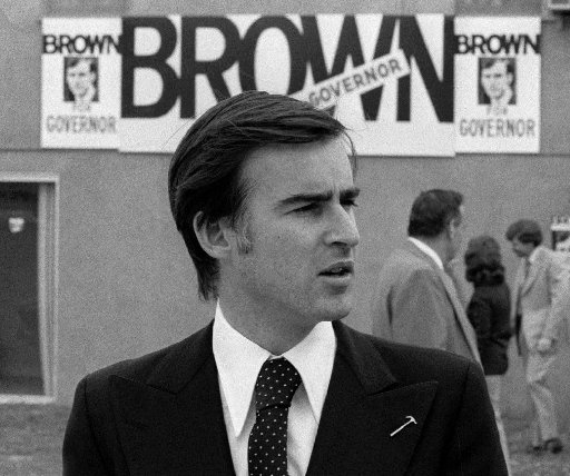 Jerry Brown campaigns for governor in Riverside in this 1974 file photo.
