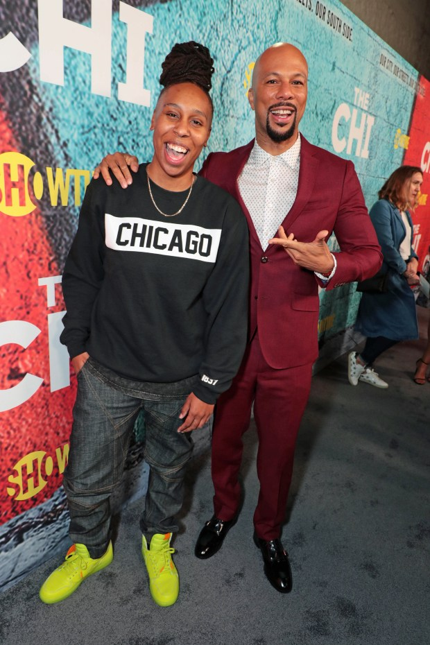 Lena Waithe and Common at the SHOWTIME premiere of THE CHI in downtown Los Angeles on 1/3/18. - Photo Credit: Eric Charbonneau/SHOWTIME. - Photo ID: TheChiPremiere_EC1_1461.JPG