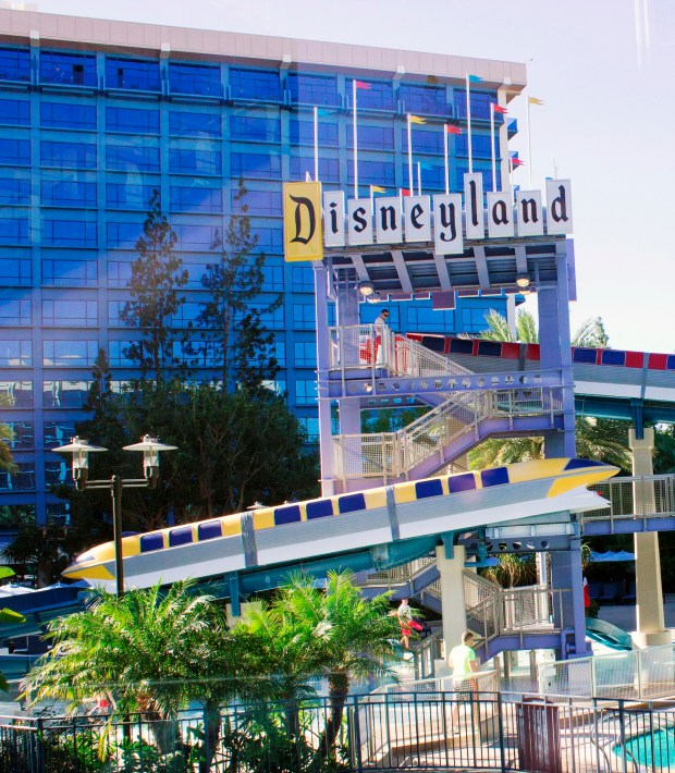 Exterior of the Disneyland Hotel in February 2016. Photo by: MARK EADES, STAFF PHOTOGRAPHER