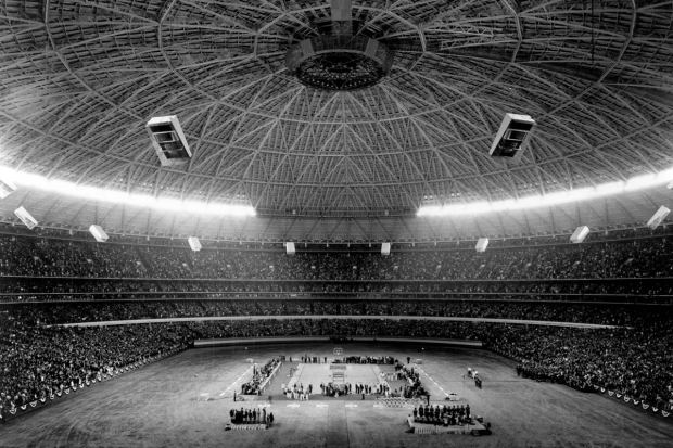 A view from above in the Astrodome down onto the court where UCLA played the University of Houston on Jan. 20, 1968 (Photo: University of Houston)