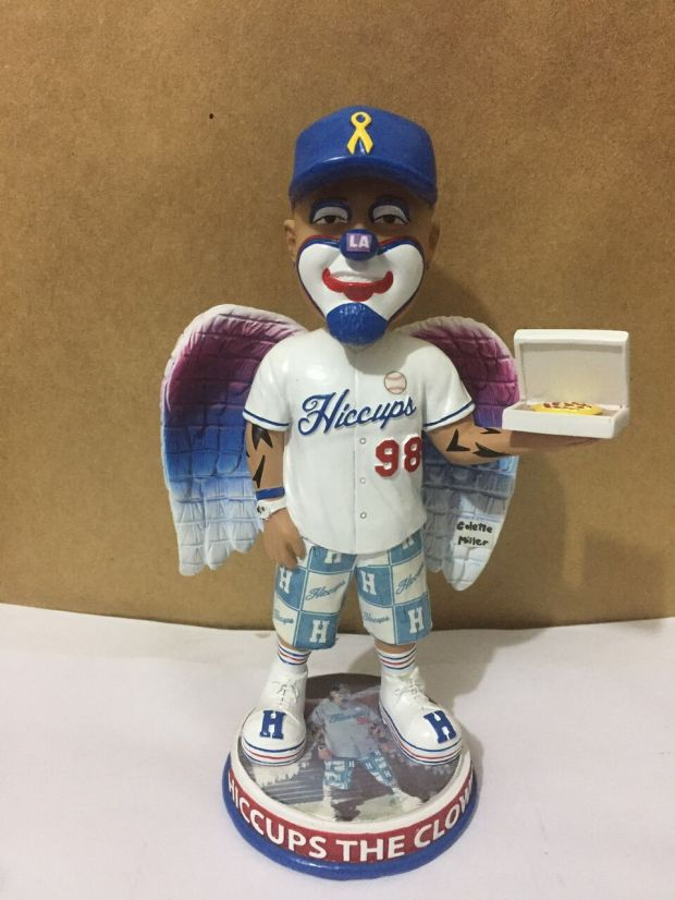 The Hiccups The Clown bobblehead with angel wings will be limited to 500 for sale.