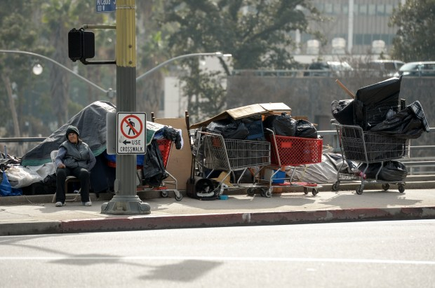 Los Angeles city leaders are planning to house dozens of homeless people in trailers on this city-owned downtown lot as a possible model for citywide temporary shelters. The LA City Council is expected to vote Tuesday, Feb. 13, 2018, on a proposal to install five trailers on this parking lot at Arcadia and Alameda streets by the beginning of summer. (Photo by David Crane, Los Angeles Daily News/SCNG)