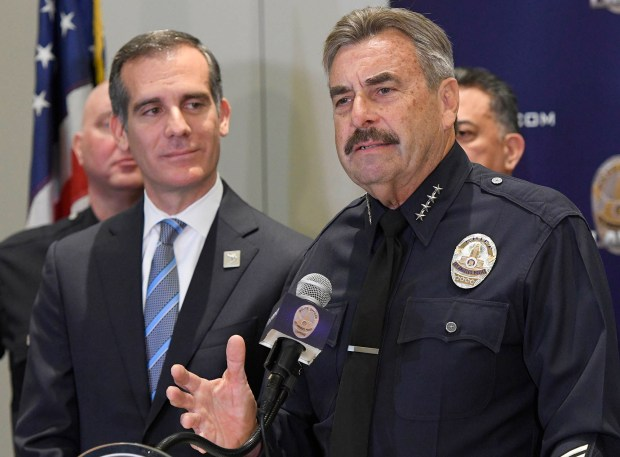 After a press conference Friday, Jan. 19, 2018, at LAPD headquarters, where Los Angeles Mayor Eric Garcetti and LAPD Chief Charlie Beck talked about a decrease in crime rates, Beck announced his retirement effective June of this year. (Photo by John McCoy, Los Angeles Daily News/SCNG)